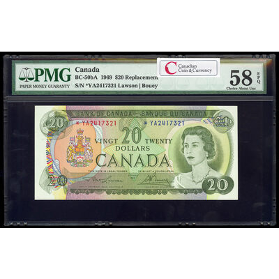 $20 1969 Replacement BC-50bA Lawson-Bouey; Series A Prefix *YA PMG AU-58