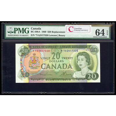 $20 1969 Replacement BC-50bA Lawson-Bouey; Series A Prefix *YA PMG CUNC-64