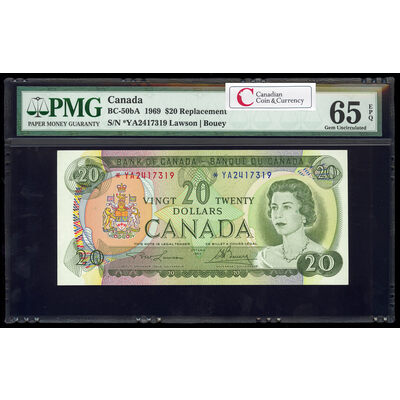 $20 1969 Replacement BC-50bA Lawson-Bouey; Series A Prefix *YA PMG GUNC-65