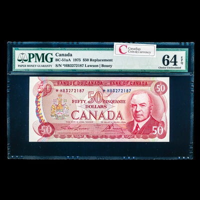 $50 1975 Replacement BC-51aA Lawson-Bouey *HB Lawson-Bouey Series B Prefix *HB PMG CUNC-64