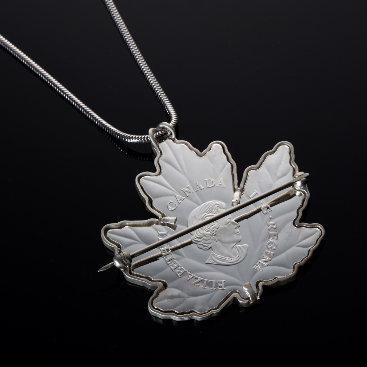 medium necklace small real custom electroformed jewelry nature products leaf silver maple pendant