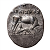 Ancient Greek Silver Drachm 229 BC Brockage F-15