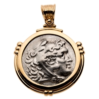 Ancient Greek Silver Alexander the Great Pendant