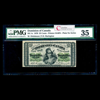 25 cent 1870 DC-1c Plain Dickinson-Harington PMG VF-35