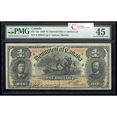 $1 1898 DC-13c Boville, ONEs outward ms. Various-Boville Series R PMG EF-45