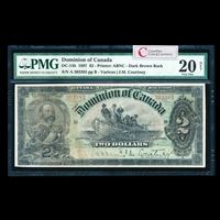$2 1897 DC-14b Courtney, dark brown back Ms. Various-Courtney Series A PMG VF-20