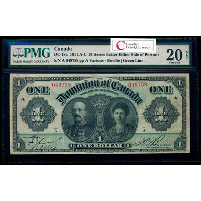 $1 1911 DC-18a Green line, series letter engraved above signature panel ms. Various-Boville PMG VF-20