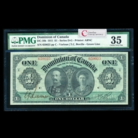 $1 1911 DC-18b Green line, series letter engraved near upper corners Ms. Various-Boville Series E PMG VF-35