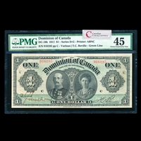 $1 1911 DC-18b Green line, series letter engraved near upper corners Ms. Various-Boville Series G PMG EF-45