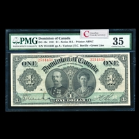 $1 1911 DC-18c Green line, series letter follows sheet no., no hyphen Ms. Various-Boville Series H Suffix H PMG VF-35