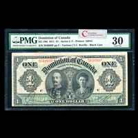 $1 1911 DC-18d Black line, Series letter follows Ms. Various-Boville Series P Suffix P PMG VF-30