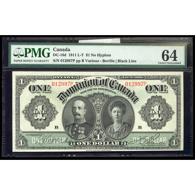 $1 1911 DC-18d Black line, Series letter follows sheet no., no hyphen ms. Various-Boville Series P Suffix P PMG CUNC-64