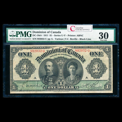 $1 1911 DC-18d-i Black line, Series letter follows sheet no., with hyphen Ms. Various-Boville Series U Suffix U PMG VF-30