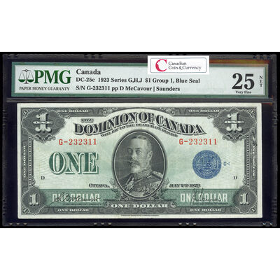 $1 1923 DC-25c McCavour-Saunders, Blue seal.  Group 1. Series G Prefix G PMG VF-25