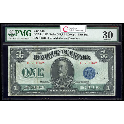 $1 1923 DC-25c McCavour-Saunders, Blue seal.  Group 1. Series G Prefix G PMG VF-30
