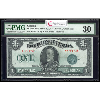 $1 1923 DC-25d McCavour-Saunders, Green seal. Group 1. Series K Prefix K PMG VF-30