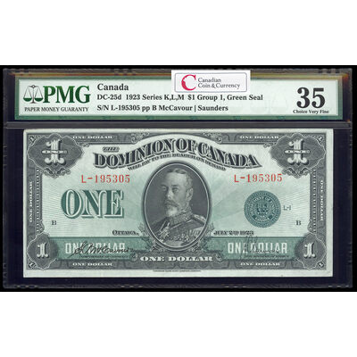 $1 1923 DC-25d McCavour-Saunders, Green seal. Group 1. Series L Prefix L PMG VF-35