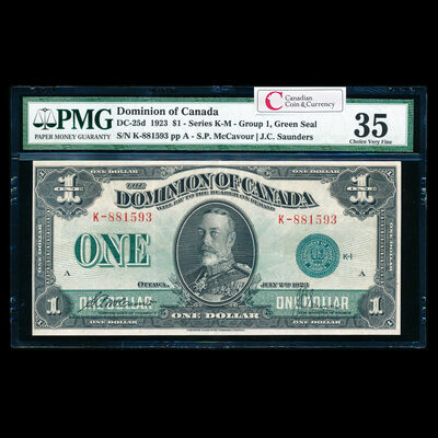 $1 1923 DC-25d McCavour-Saunders, Green seal.  Group 1. McCavour-Saunders Series K Prefix K PMG VF-35