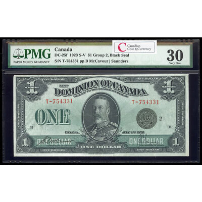 $1 1923 DC-25f McCavour-Saunders, Black seal.  Group 2. Series T Prefix T PMG VF-30