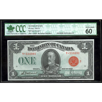 $1 1923 DC-25g McCavour-Saunders, Red seal.  Group 2. S. P. McCavour-J. C. Saunders Series Y Prefix Y  UNC-60