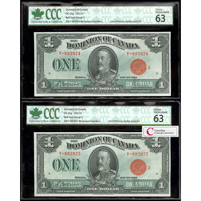 $1 1923 Consecutive DC-25g McCavour-Saunders, Red seal, Group 2 S. P. McCavour-J. C. Saunders Series Y Prefix Y  CUNC-63