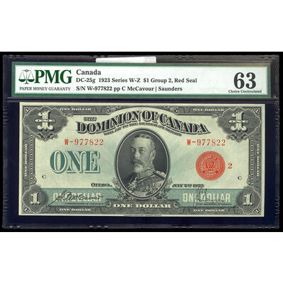 $1 1923 DC-25g McCavour-Saunders, Red Seal, Group 2 Series W Prefix W PMG CUNC-63