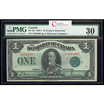$1 1923 DC-25j McCavour-Saunders, Green seal, Group 2 Series C Prefix C PMG VF-30