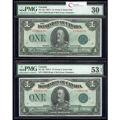 $1 1923 Consecutive DC-25j McCavour-Saunders, Green seal.  Group 2. Series C Prefix C PMG VF-30