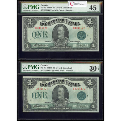 $1 1923 DC-25j McCavour-Saunders, Green seal. Group 2. Series C Prefix C PMG