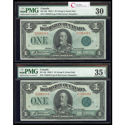 $1 1923 Consecutive DC-25j McCavour-Saunders, Green seal. Group 2. Series C Prefix C PMG