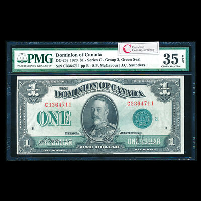 $1 1923 DC-25j McCavour-Saunders, Green seal, Group 2. McCavour-Saunders Series C Prefix C PMG VF-35