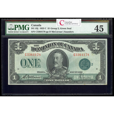 $1 1923 DC-25j McCavour-Saunders, Green seal, Group 2 Series C Prefix C PMG EF-45