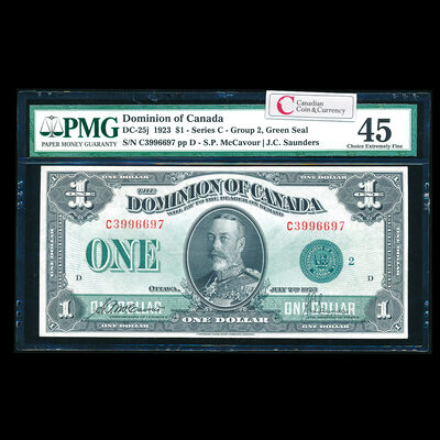 $1 1923 DC-25j McCavour-Saunders, Green seal, Group 2. McCavour-Saunders Series C Prefix C PMG EF-45