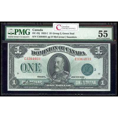 $1 1923 DC-25j McCavour-Saunders, Green seal.  Group 2. Series C Prefix C PMG AU-55