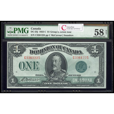 $1 1923 DC-25j McCavour-Saunders, Green seal. Group 2. Series C Prefix C PMG AU-58