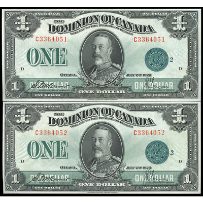 $1 1923 Consecutive DC-25j McCavour-Saunders, Green seal, Group 2 McCavour-Saunders Series C Prefix C  CUNC-63