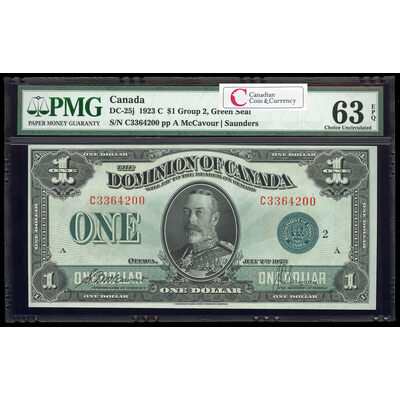$1 1923 DC-25j McCavour-Saunders, Green seal. Group 2. Series C Prefix C PMG CUNC-63