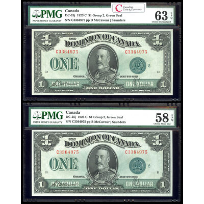 $1 1923 Matched Serial # Set DC-25j McCavour-Saunders, Green seal.  Group 2. Series C Prefix C PMG CUNC-63