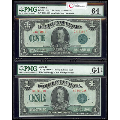 $1 1923 Consecutive DC-25j McCavour-Saunders, Green seal.  Group 2. Series C Prefix C PMG CUNC-64