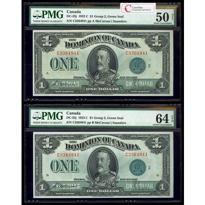 $1 1923 Matched Serial # Set DC-25j McCavour-Saunders, Green seal, Group 2 Series C Prefix C Suffix   PMG CUNC-64