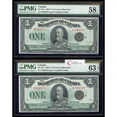 $1 1923 Consecutive DC-25n Campbell-Sellar, Black seal.  Group 3. Series D Prefix D PMG