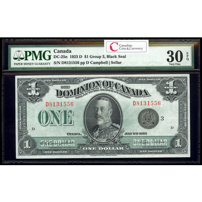 $1 1923 DC-25n Campbell-Sellar, Black seal.  Group 3. Series D Prefix D PMG VF-30