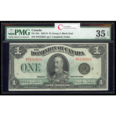 $1 1923 DC-25n Campbell-Sellar, Black seal.  Group 3. Series D Prefix D PMG VF-35