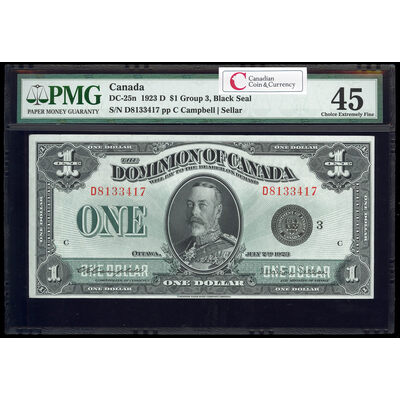 $1 1923 DC-25n Campbell-Sellar, Black seal.  Group 3. Series D Prefix D PMG EF-45