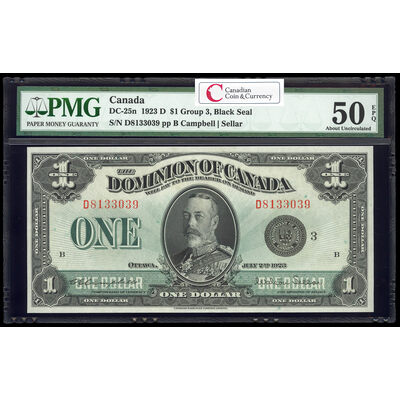 $1 1923 DC-25n Campbell-Sellar, Black seal.  Group 3. Series D Prefix D PMG AU-50
