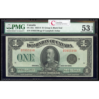 $1 1923 DC-25n Campbell-Sellar, Black seal.  Group 3. Series D Prefix D PMG AU-53