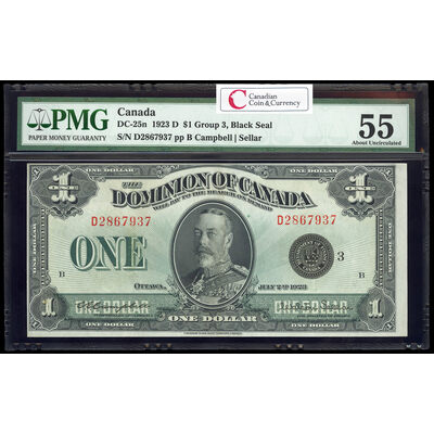 $1 1923 DC-25n Campbell-Sellar, Black seal.  Group 3. Series D Prefix D PMG AU-55