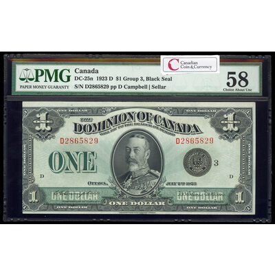 $1 1923 DC-25n Campbell-Sellar, Black seal. Group 3. Series D Prefix D PMG AU-58