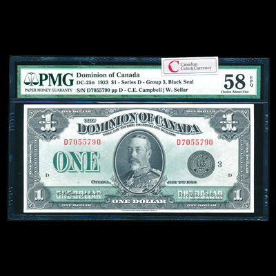 $1 1923 DC-25n Campbell-Sellar, Black seal, Group 3. Campbell-Sellar Series D Prefix D PMG AU-58