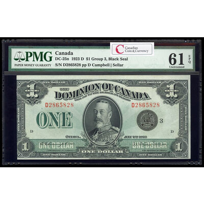 $1 1923 DC-25n Campbell-Sellar, Black seal. Group 3. Series D Prefix D PMG UNC-61